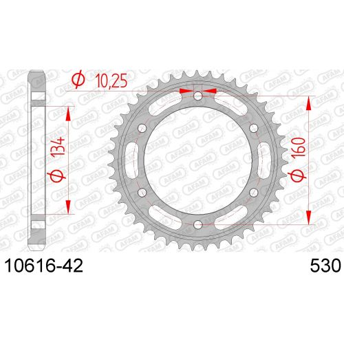 10616-42 звезда задняя HONDA CBR 1000, HONDA VTR 1000 (ведомая) стальная, 530, AFAM (JTR1306.42)