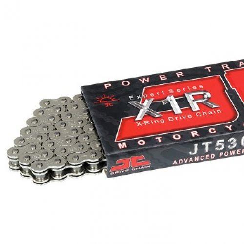 Цепь JT 530X1R, никель, 124 звена, уплотнение цепи - X-ring, от 250 до 900 ccm   530X1R-NN124