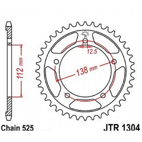 Звезда задняя (ведомая) JTR1304.42 для мотоцикла стальная