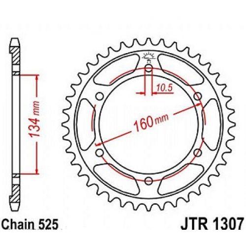 Звезда задняя (ведомая) JTR1307.42 для мотоцикла стальная