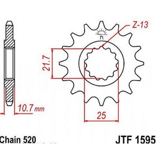 Звезда передняя (ведущая) JTF1595.16 для мотоцикла, стальная