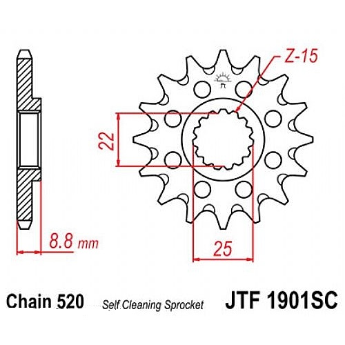 Звезда (ведущая) JTF1901, стальная с самоочисткой