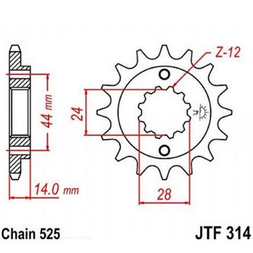 JT Звезда передняя (ведущая) JTF314.15