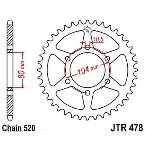 Звезда задняя (ведомая) JTR478.46 для мотоцикла стальная