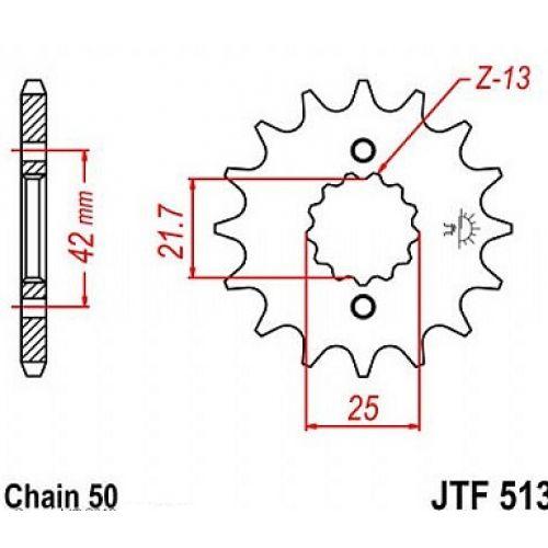 Звезда передняя (ведущая) JTF513.16 для мотоцикла, стальная