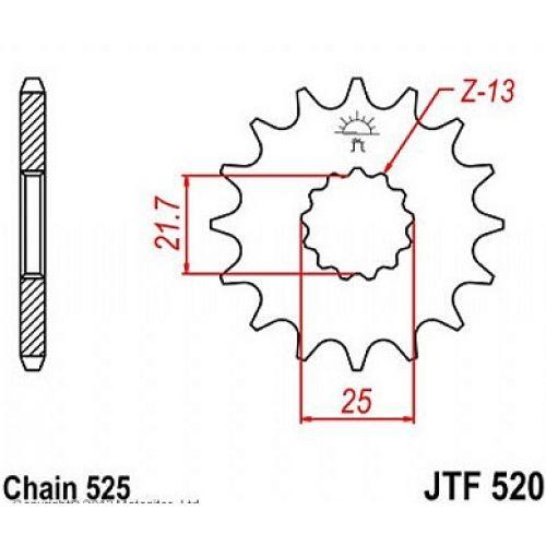 Звезда передняя (ведущая) JTF520.16  для мотоцикла, стальная