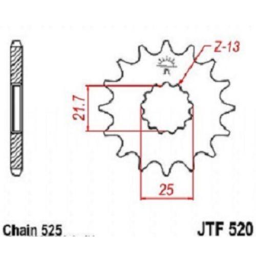 Звезда передняя (ведущая) JTF520.17  для мотоцикла, стальная