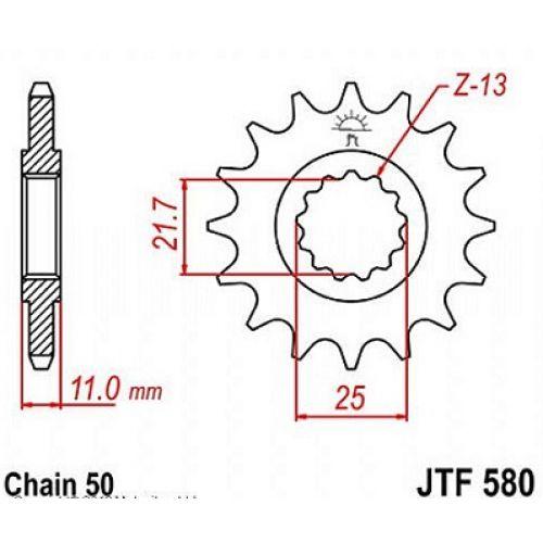 Звезда передняя (ведущая) JTF580.16 для мотоцикла, стальная