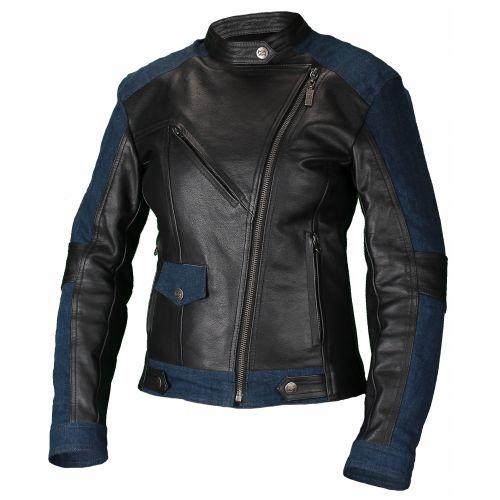 Кожаная женская куртка Teacher Jeans Черный/Синий, L