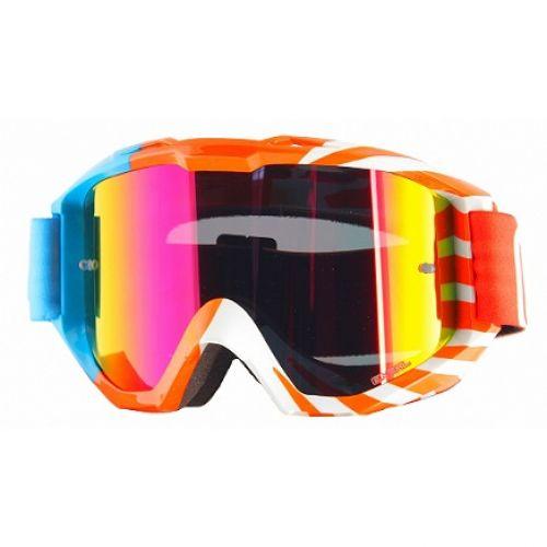 Кроссовая маска B1 RL OKINAWA оранжево-голубая/радиум