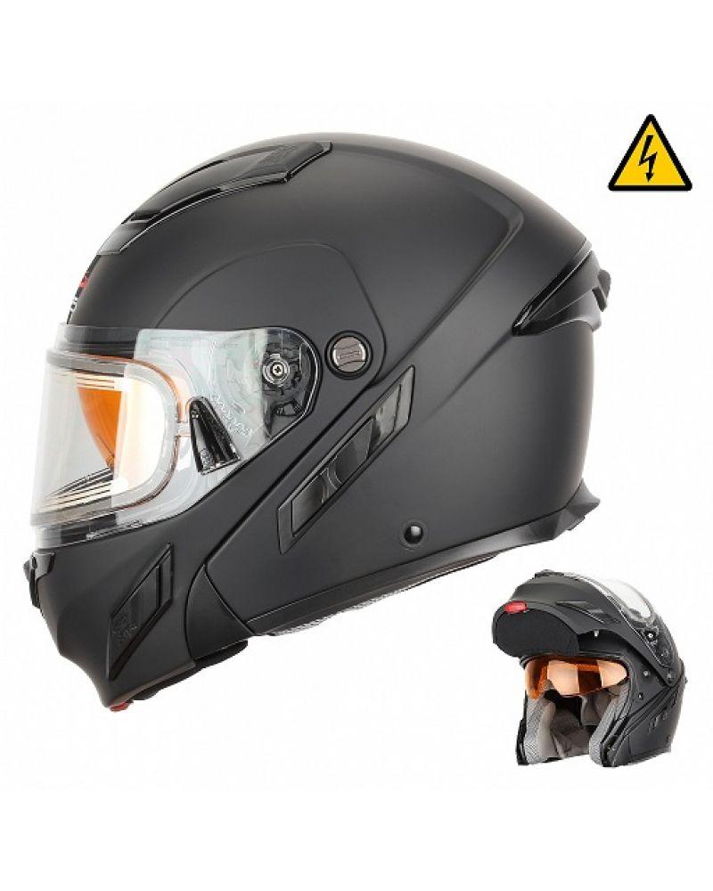 Снегоходный шлем модуляр с электростеклом MODE2 черный матовый (L)