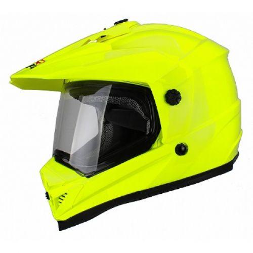 Шлем кроссовый со стеклом DSE1 флуоресцентнно-желтый(M)