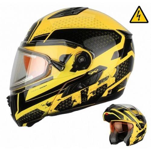 Снегоходный шлем модуляр с электростеклом MODE1 желтый  XL