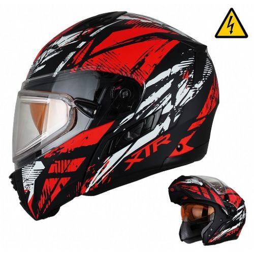 Снегоходный шлем модуляр с электростеклом MODE1 Tornado красный матовый