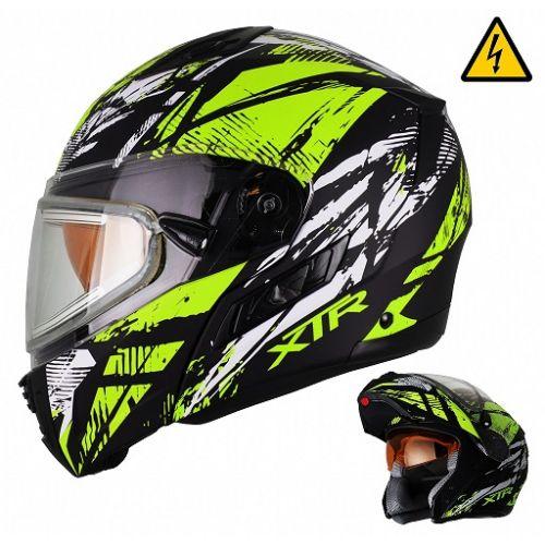 Снегоходный шлем модуляр с электростеклом MODE1 Tornado зеленый матовый  (M)