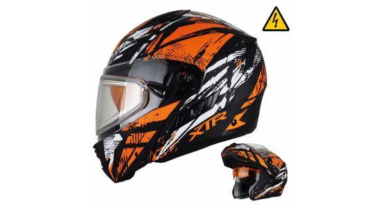 Снегоходный шлем модуляр с электростеклом MODE1 Tornado оранжевый матовый (L)