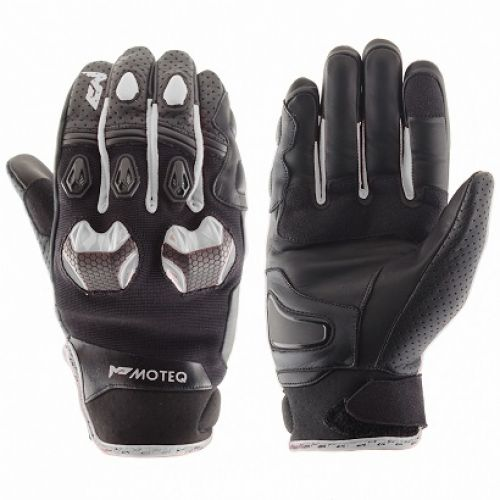 MOTEQ Кожаные перчатки Stinger белые(L)