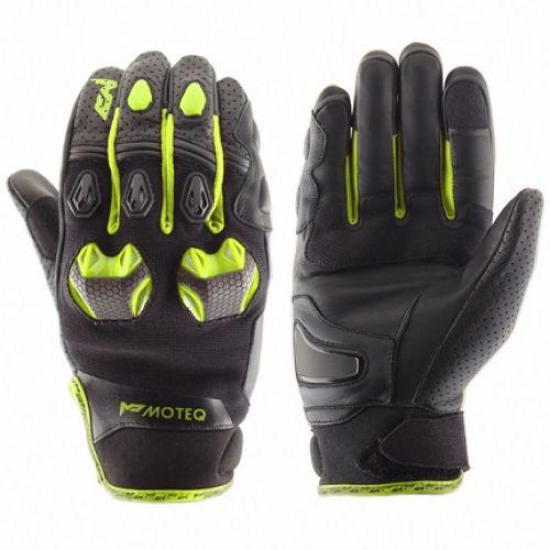 MOTEQ Кожаные перчатки Stinger флуоресцентно-желтые (S)